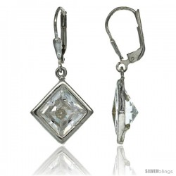 Sterling Silver 9mm Square CZ Lever Back Earrings 1 5/16 in. (33 mm) tall