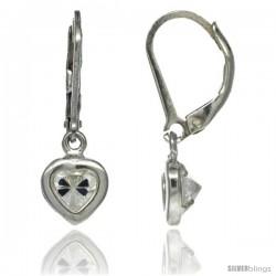 Sterling Silver 5mm Heart CZ Lever Back Earrings 15/16 in. (23.5 mm) tall