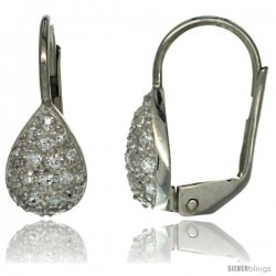 Sterling Silver Pear Shape CZ Teardrop Lever Back Earrings 5/8 in. (16 mm) tall
