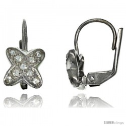 Sterling Silver Clover Flower CZ Lever Back Earrings 5/8 in. (16 mm) tall