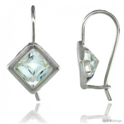 Sterling Silver 7mm Square CZ Hook Earrings 13/16 in. (21 mm) tall