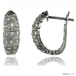 Sterling Silver Striped CZ Huggie Earrings 11/16 in. (17 mm) tall