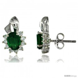 Sterling Silver Emerald CZ Cluster Earrings 9/16 in. (14 mm) tall