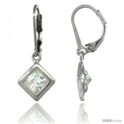 Sterling Silver 6mm Square CZ Lever Back Earrings 1 1/16 in. (27 mm) tall