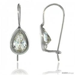 Sterling Silver 9x6mm Pear Shape CZ Teardrop Hook Earrings 7/8 in. (22.5 mm) tall