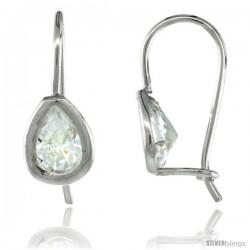 Sterling Silver 8x5mm Pear Shape CZ Teardrop Hook Earrings 3/4 in. (19 mm) tall