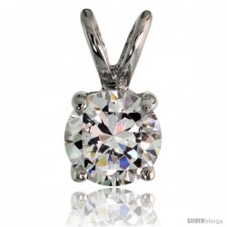 "Sterling Silver Basket Set Round Stone Rabbit Bale Pendant, 6mm Brilliant Cut CZ Stone, 7/16 in tall, 18"" -Style Pz261"