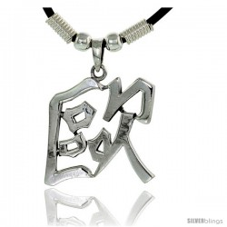 """Sterling Silver Chinese Character Pendant for """"AUR"""", 1 1/4"""" (32 mm) tall, w/ 18"""" Rubber Cord Necklace"""