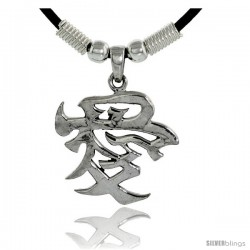 "Sterling Silver Chinese Character Pendant for ""LOVE"", 1 1/8"" (29 mm) tall, w/ 18"" Rubber Cord Necklace"