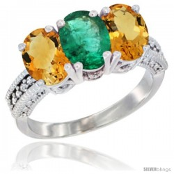 14K White Gold Natural Emerald & Citrine Sides Ring 3-Stone 7x5 mm Oval Diamond Accent