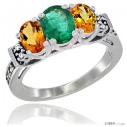 14K White Gold Natural Emerald & Citrine Ring 3-Stone Oval with Diamond Accent