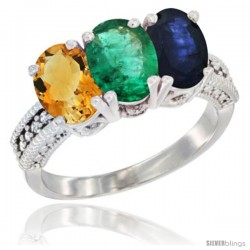 14K White Gold Natural Citrine, Emerald & Blue Sapphire Ring 3-Stone 7x5 mm Oval Diamond Accent