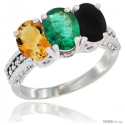 14K White Gold Natural Citrine, Emerald & Black Onyx Ring 3-Stone 7x5 mm Oval Diamond Accent
