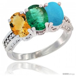 14K White Gold Natural Citrine, Emerald & Turquoise Ring 3-Stone 7x5 mm Oval Diamond Accent