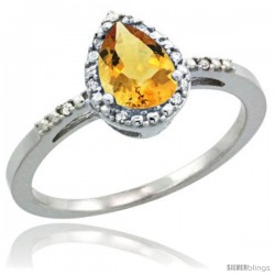 14k White Gold Diamond Citrine Ring 0.59 ct Tear Drop 7x5 Stone 3/8 in wide