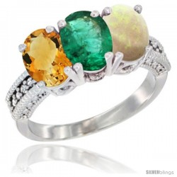 14K White Gold Natural Citrine, Emerald & Opal Ring 3-Stone 7x5 mm Oval Diamond Accent