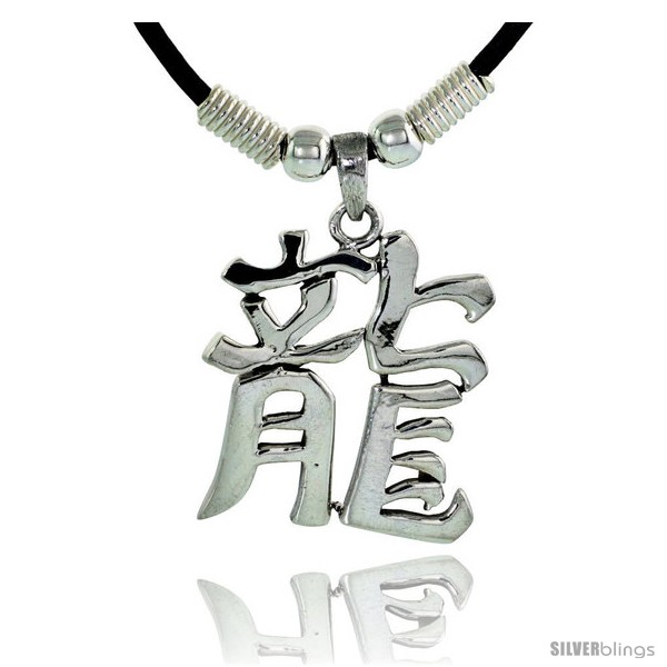 Sterling silver chinese character pendant for dragon 1 316 30 undefined aloadofball Choice Image