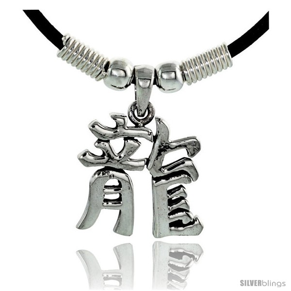 Sterling Silver Chinese Character Pendant For Dragon 78 22 Mm
