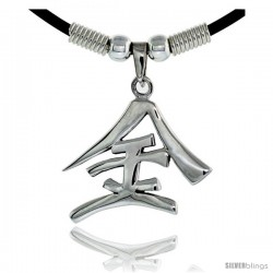 "Sterling Silver Chinese Character Pendant for ""GOLD"", 1 1/8"" (29 mm) tall, w/ 18"" Rubber Cord Necklace"