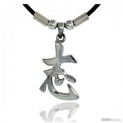 "Sterling Silver Chinese Character Pendant for ""DETERMINATION"", 1 5/16"" (33 mm) tall, w/ 18"" Rubber Cord Necklace"