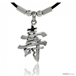 """Sterling Silver Chinese Character Pendant for """"GOOD LUCK"""", 15/16"""" (24 mm) tall, w/ 18"""" Rubber Cord Necklace"""