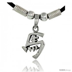 "Sterling Silver Chinese Character Pendant for ""MA"", 3/4"" (19 mm) tall, w/ 18"" Rubber Cord Necklace"