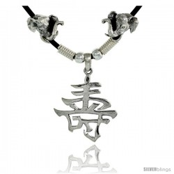 "Sterling Silver Chinese Character Pendant for ""LONG LIFE"", 1 5/16"" (33 mm) tall, w/ Good Luck Elephant Heads & 18"" Rubber Cord"