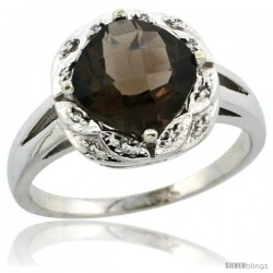 10k White Gold Diamond Halo Smoky Topaz Ring 2.7 ct Checkerboard Cut Cushion Shape 8 mm, 1/2 in wide