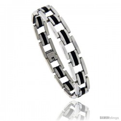 Stainless Steel & Black Rubber Pantera Style Bracelet, 1/2 in wide, 8.5 in long