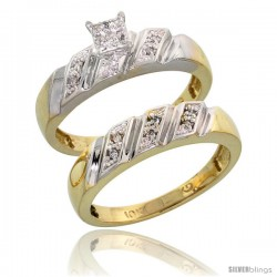 10k Yellow Gold Diamond Engagement Rings Set 2-Piece 0.10 cttw Brilliant Cut, 3/16 in wide -Style 10y016e2