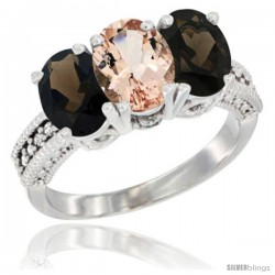 10K White Gold Natural Morganite & Smoky Topaz Sides Ring 3-Stone Oval 7x5 mm Diamond Accent