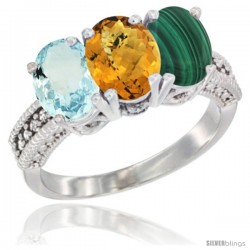 10K White Gold Natural Aquamarine, Whisky Quartz & Malachite Ring 3-Stone Oval 7x5 mm Diamond Accent