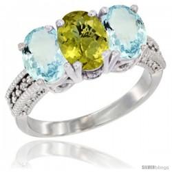 10K White Gold Natural Lemon Quartz & Aquamarine Sides Ring 3-Stone Oval 7x5 mm Diamond Accent