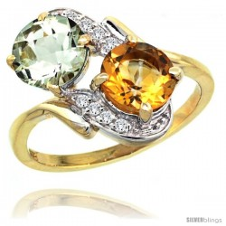 14k Gold ( 7 mm ) Double Stone Engagement Green Amethyst & Citrine Ring w/ 0.05 Carat Brilliant Cut Diamonds & 2.34 Carats