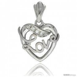 Sterling Silver LOVE Ribbon Pendant CZ Stones Rhodium Finished, 25/32 in long