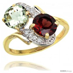 14k Gold ( 7 mm ) Double Stone Engagement Green Amethyst & Garnet Ring w/ 0.05 Carat Brilliant Cut Diamonds & 2.34 Carats Round