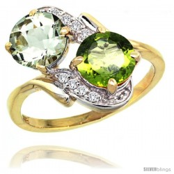 14k Gold ( 7 mm ) Double Stone Engagement Green Amethyst & Peridot Ring w/ 0.05 Carat Brilliant Cut Diamonds & 2.34 Carats