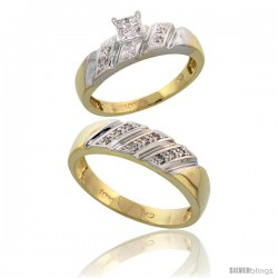 10k Yellow Gold Diamond Engagement Rings 2-Piece Set for Men and Women 0.12 cttw Brilliant Cut, 5mm & 6mm wide