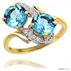 14k Gold ( 7 mm ) Double Stone Engagement Swiss Blue Topaz Ring w/ 0.05 Carat Brilliant Cut Diamonds & 2.34 Carats Round