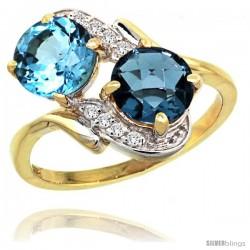 14k Gold ( 7 mm ) Double Stone Engagement Swiss & London Blue Topaz Ring w/ 0.05 Carat Brilliant Cut Diamonds & 2.34 Carats