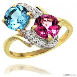 14k Gold ( 7 mm ) Double Stone Engagement Swiss Blue & Pink Topaz Ring w/ 0.05 Carat Brilliant Cut Diamonds & 2.34 Carats Round