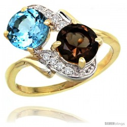 14k Gold ( 7 mm ) Double Stone Engagement Swiss Blue & Smoky Topaz Ring w/ 0.05 Carat Brilliant Cut Diamonds & 2.34 Carats