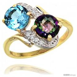 14k Gold ( 7 mm ) Double Stone Engagement Swiss Blue & Mystic Topaz Ring w/ 0.05 Carat Brilliant Cut Diamonds & 2.34 Carats