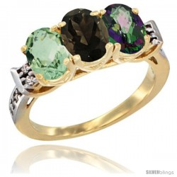 10K Yellow Gold Natural Green Amethyst, Smoky Topaz & Mystic Topaz Ring 3-Stone Oval 7x5 mm Diamond Accent