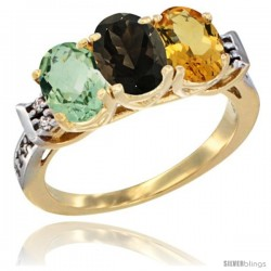 10K Yellow Gold Natural Green Amethyst, Smoky Topaz & Citrine Ring 3-Stone Oval 7x5 mm Diamond Accent