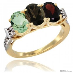 10K Yellow Gold Natural Green Amethyst, Smoky Topaz & Garnet Ring 3-Stone Oval 7x5 mm Diamond Accent