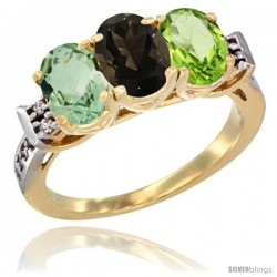 10K Yellow Gold Natural Green Amethyst, Smoky Topaz & Peridot Ring 3-Stone Oval 7x5 mm Diamond Accent