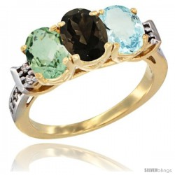 10K Yellow Gold Natural Green Amethyst, Smoky Topaz & Aquamarine Ring 3-Stone Oval 7x5 mm Diamond Accent