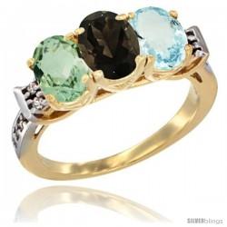10K Yellow Gold Natural Green Amethyst, Smoky Topaz & Aquamarine Ring 3-Stone Oval 7x5 mm Diamond Accent