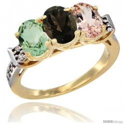 10K Yellow Gold Natural Green Amethyst, Smoky Topaz & Morganite Ring 3-Stone Oval 7x5 mm Diamond Accent